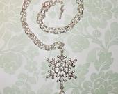 Swarovski Crystal Snowflake Pendant Chain Necklace