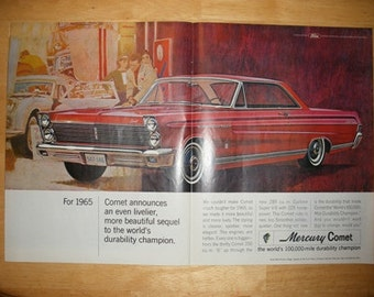 Vintage 2 Page 1965 Mercury Comet Advertisement Paper Ephemera Car Nostalgia Ad Print Man Cave Garage Decor