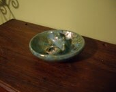 Tiny vintage teal ceramic ashtray // mid century modern // vintage