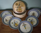 Vintage paper mache container with coasters, mid century coasters