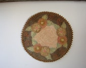Vintage Needlepoint Dollhouse Rug or Doily, Russian Punch