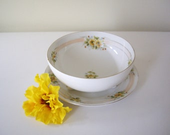 Antique Hand Painted Floral Nippon Serving Bowl and Dish. Hand Painted China Bowl. Shabby Chic.  Handpainted Floral Dish