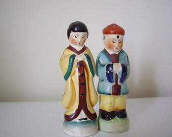 Vintage Salt and Pepper Shakers, Chinese couple