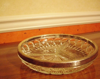 Vintage Crystal and Silver Rimmed Candy Dish
