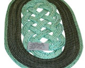"Beautiful Rope Mat Green And Grays Recycled Rope Oval 27"" x 18"" Nautical Doormat Rope Rug"