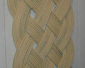 Cream Rope Rug Beige Upcycled Re-purposed Rope Tan Doormat Easy to Clean Nautical Beach Decor