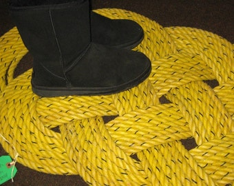 "Yellow ROPE MAT  Large Outdoor Rope Rug 47"" X 22"" Doormat Sunshine Yellow Nautical Beachy Decor"