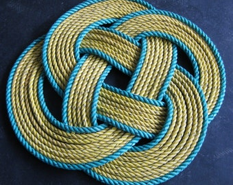 """31"""" Round Yellow with Green Rope Rug Doormat 100% Eco-Friendly"""