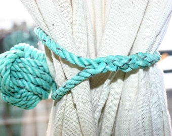 Rope Curtain Tieback Monkeyfist Ball Knot Wrap around type Green Turquoise like Nautical Decor