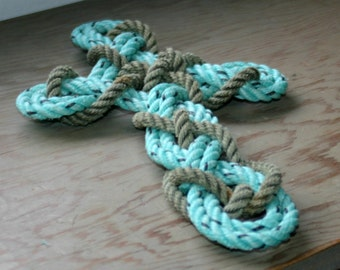 Celtic Cross Up-cycled Alaska Fishing Line Repurposed Into this Cross Knotted Woven Rope Cross