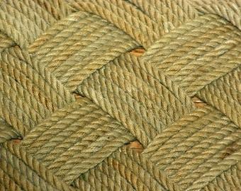 Throw Rope Rug Soft Lay Natural Khaki Tan Beige Light Brown Re-purposed Fishing Line Nautical Beach Doormat