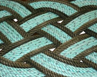 "Recycled Rope Rug 31"" x 14"" Beach Doormat Rope Green & Gray Alaskan Fishing Line Repurposed  Nautical Beach Decor"