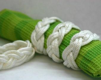 White 4 Napkin Rope Rings Nautical Beach Themed Weddings White Nautical Knot Made in Alaska