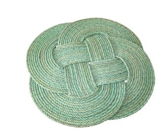 "20"" Green Throw Rug Nautical Beach Decor 100% Eco-Friendly Knotted Recycled Rope Mat Door Mat Rope Rug"