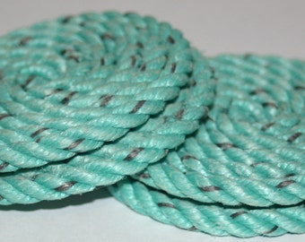 Set of 4 Rope Coasters Nautical Decor Green Aqua Turquoise Rope Coiled