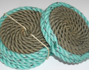 Set of 4 Rope Coasters Nautical Decor Natural with Aqua Turquoise Trim Rope Flemish Coiled