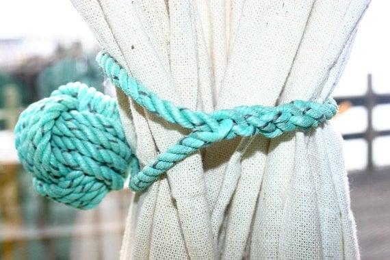 Rope Curtain Tieback Monkeyfist Ball Knot Wrap around type Green Turquoise like Nautical Decor