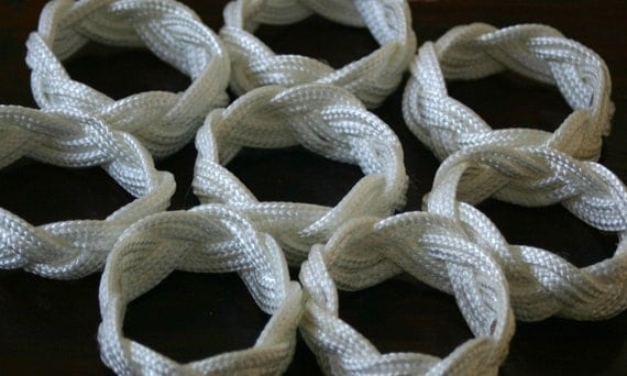 8 White Napkin Rope Rings Nautical Beach Decor  White Nautical Sailor Knot Made in Alaska