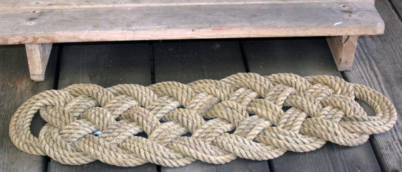 "Natural Rope Rug Rustic & Nautical Decor Doormat Large 38"" x 15"" Beach House Mat Tan Khaki Manila Rope"