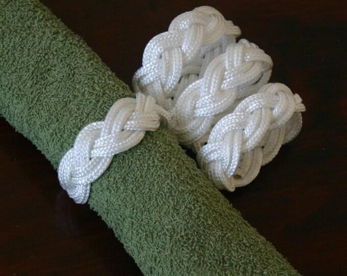 8 White Napkin Rope Rings Nautical Beach Decor  White Nautical Sailor Knot Made in Alaska