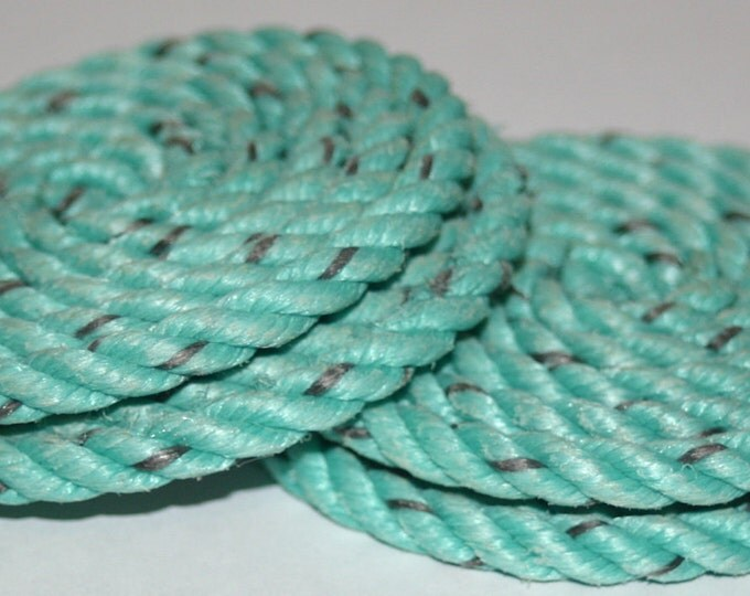 Set of 4 Rope Coasters Nautical Decor Green Aqua Turquoise Rope Coiled
