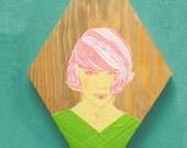Vintage 1960's Woman Pink Hair