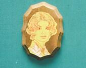 Wooden Plaque Vintage Lady