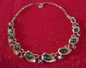 Lisner Vintage Estate Costume Gold and Rhinestone Necklace