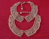 2 Vintage Estate Faux Champagne Pearl Collar Necklaces