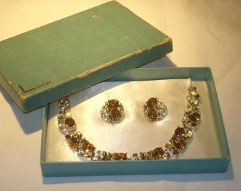 Lisner Earring and Necklace Set Aurora Boralis Rhinestone with Original  Box