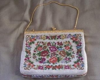Vintage Antique Estate Embroidered  Purse Handbag