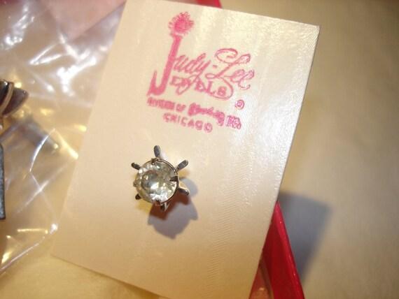Judy Lee Rhinestone Cufflinks and  Tie Pin Set New In Box