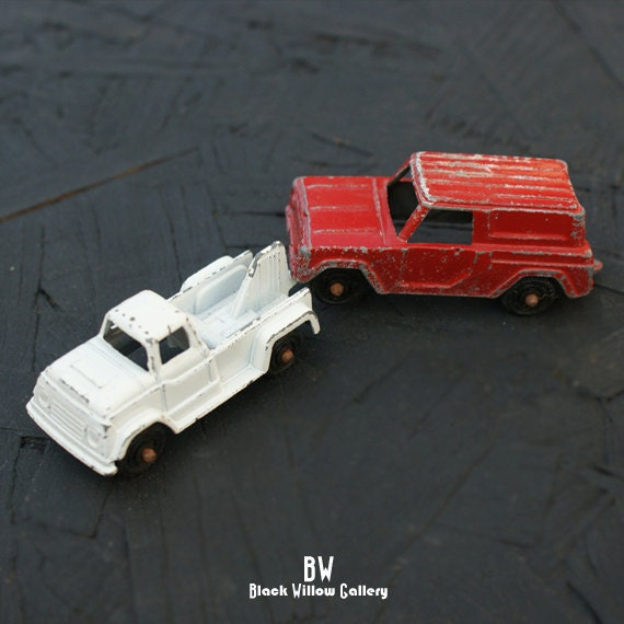 Two Tootsie Toy Cars Tow Truck and Van Diecast 1960s Collectible Rare Find Made in the usa america