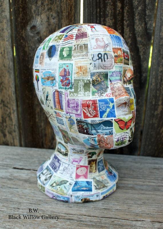 International postage stamps  Mannequin Head Wig Hat  Display Vintage