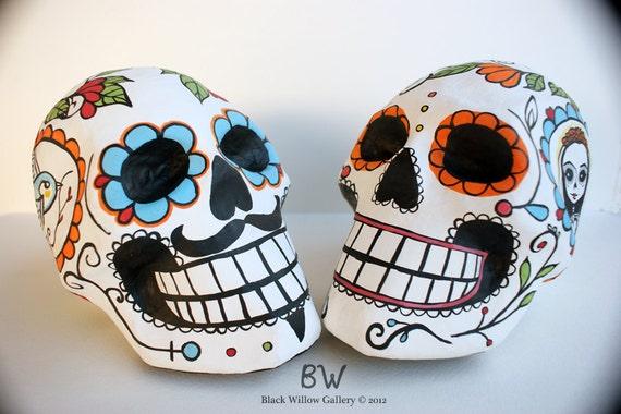 Custom Wedding Decoration Day of the Dead Skull Bride and Groom