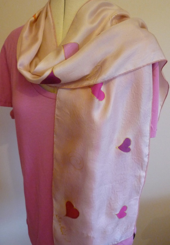 "Handpainted Silk Scarf  Original Wearable Art  By The Silk Maid ""Love"""