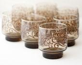 Vintage glasses, brown glass, Libbey Prado glassware tumblers with raised embossed scrollwork, set of 8 - c1970s