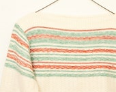 Vintage women's sweater, Sabra Wintuk bateau neck sweater, inside out knit red & green on cream