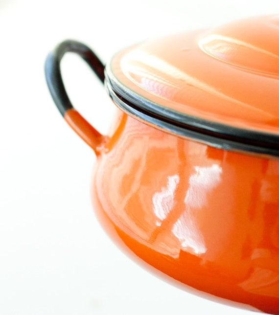Vintage enamelware casserole dish, orange enameled aluminum cookware with black edges, Japan