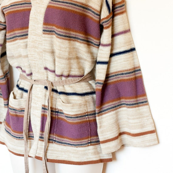Vintage striped wrap sweater, tan, brown, purple & navy mixed stripes, Donnkenny brand