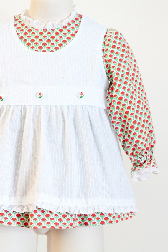 Vintage toddler dress with apron, red and white tulips flowers
