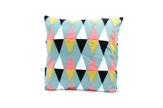 harlequin patchwork cushion cover multicolored - housse de coussin patchwork arlequin multicolore
