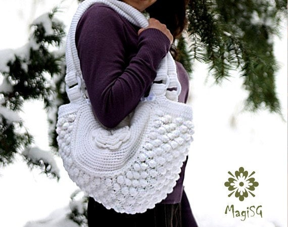 Handmade Knitting Bag Pattern : Handmade Knitting Bag with Crochet Flowers Handbag Shoulder