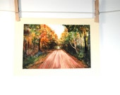 Autumn Landscape, Woodland Road,  Watercolor, Original Art Painting