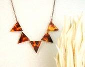 Tortoise Shell Geometric Modern Necklace Fall