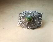 Navajo Green Turquoise Tribal Sterling Man's Belt Buckle