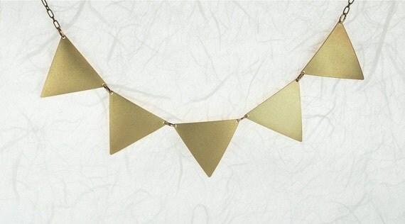 Geometric Trangle Modern Necklace