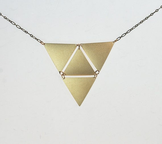 Sale Under 25 Triangle in Triangle Golden Necklace