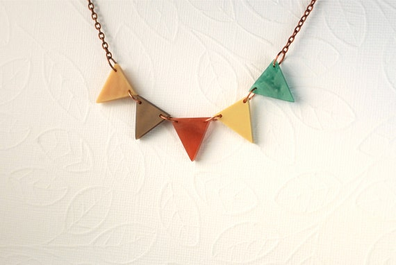 Autumn Harvest Fall Pennant Bunting Necklace