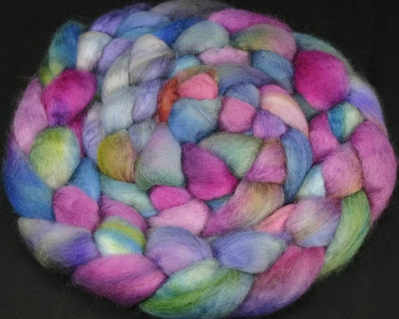 Blue Faced Leicester roving, hand painted fiber for spinning and felting, 4.2 oz